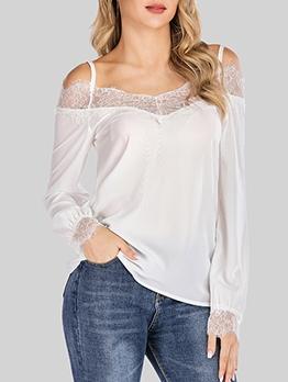 Lace Patchwork Off Shoulder T Shirt Design