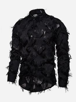 Stylish Feather Tassels Men Button Down Shirt