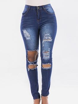 Stylish Mid Waist Ripped Holes Skinny Jeans