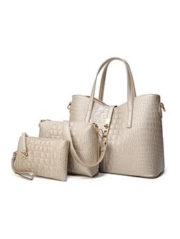 Minimalist Style Crocodile Print 3 Piece Handbags Set