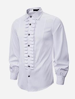 Vintage Solid Stringy Selvedge Men Long Sleeve Shirts