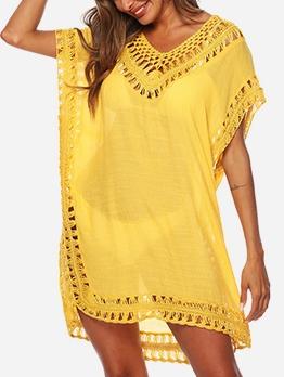 Hook Flower Short Sleeve Swimsuit Cover Up Dress