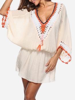 Deep V Neck Loose Long Sleeve Swimsuit Dress
