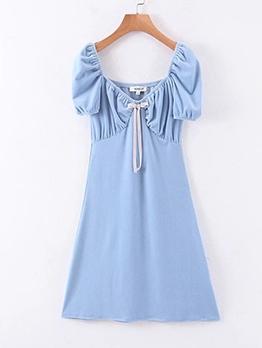 Summer V Neck Solid Short Sleeve Short Dress