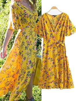 Hot Sale V Neck Floral Yellow Maxi Dress