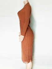 Stand Neck Knitting Long Sleeve Pleated Maxi Dress
