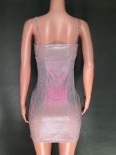 Sexy Low-Cut Gauze Patch Pink Sleeveless Sheath Dress