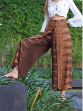 Printed High Split Loose Yoga Pants