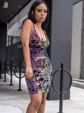 Deep V Neck Backless Colorful Sequin Dress