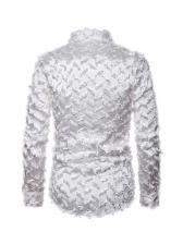 Zig-Zag Shape Feather Patchwork Long Sleeve Shirts