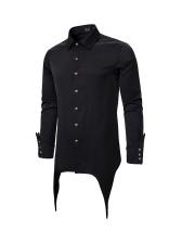 Solid Irregular Hem Casual Shirts For Men