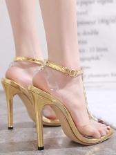 Rivet Transparent T Strap Sandals