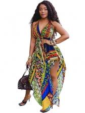 Irregular Hem Backless Printed Beach Maxi Dresses