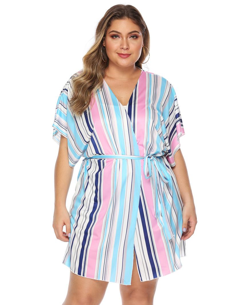 Plus Size Short Sleeve Striped Long Coat