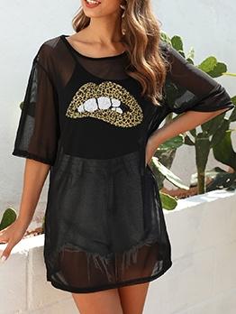 Lip Printed Black Short Sleeve T Shirt Dress