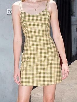 Summer Sleeveless Plaid Short Dress