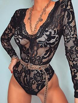 Sexy V Neck Long Sleeve Black Lace Bodysuit