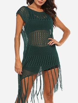 Vacation Hollow Tassel Hem Short Sleeve Summer Dresses