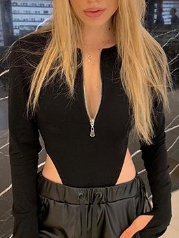 Sexy Zipper Long Sleeve Black Bodysuit