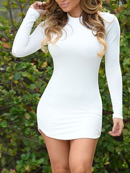 Stand Neck Thick Long Sleeve Bodycon Dress
