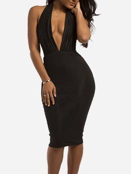 Deep v Neck Backless Halter Neck Dress