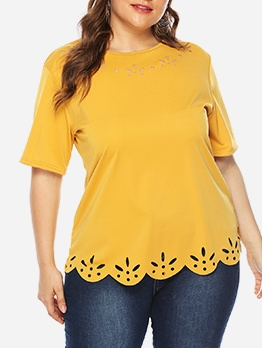 Plus Size Yellow Hollow T Shirts For Women