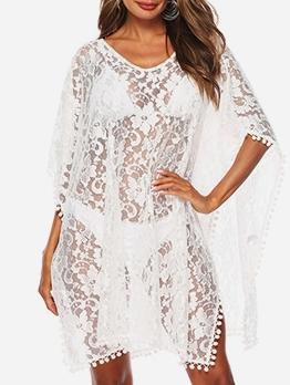 V Neck Bat Sleeve Swimsuit White Lace Dress Sexy