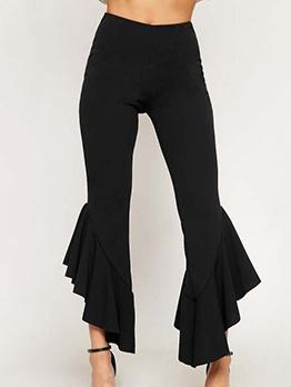 Solid Ruffled Hem Mid Waisted Pants