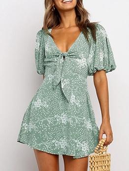 Leisure Front Tie Print Short Sleeve Green Dress