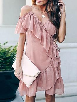 Asymmetric Ruffle Trim Chiffon Slip Casual Dresses
