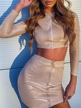 Glitter Zipper Up Bodycon Crop Top And Skirt Set
