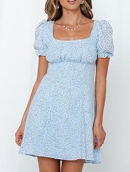 Retro Printed Square Collar Short Sleeve Summer Dresses