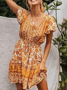 Bohemian v Collar Flower Printed a Line Dress