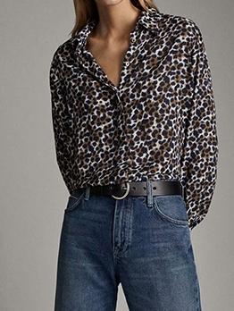 Stylish Turndown Collar Leopard Print Blouse