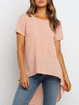 Asymmetrical High Low Hem Summer T Shirt Printing