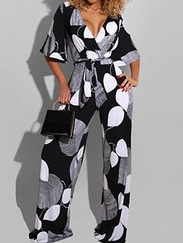 Color Block Printing Tie-Wrap Loose Wide Leg Jumpsuit