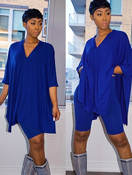 V Neck Solid Bat Sleeve Two Piece Sets