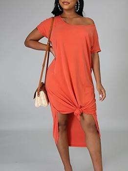 Casual Short Sleeve Midi Dress For Women