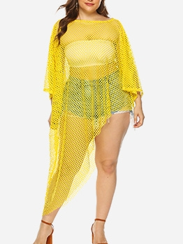 Irregular Hem Yellow Swimsuit Cover Ups