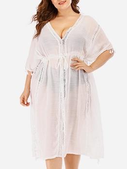 V Neck High Split Hem White Midi Dress For Swimsuit