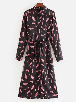 Lips Print Long Sleeve Shirt Dress For Women