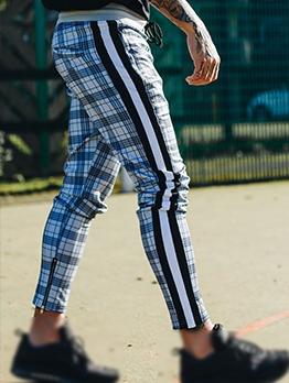 Leisure Slim Fit Men Drawstring Plaid Pants