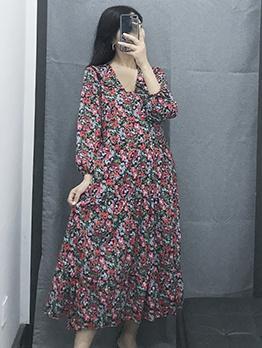 Lantern Sleeve v Neck Floral Midi Dress