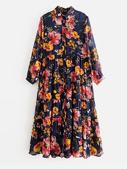 Single-Breasted Pleated Floral Maxi Dress
