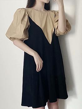 Preppy Style Lantern Sleeve Contrast Color Short Dress