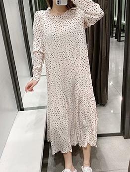 Polka Dot Long Sleeve White Maxi Dress