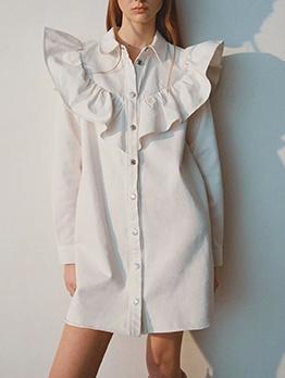 Ruffle Detail White Long Sleeve Shirt Dress