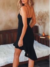 Sexy Irregular Ruffled Hem Slip Sleeveless Dress