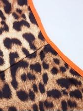Sexy V Neck Skinny Leopard Printed Sleeveless Jumpsuit