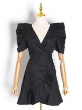 Boutique v Neck Puff Short Sleeve Ladies Dress